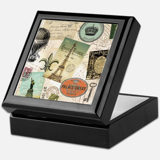 Vintage Travel collage Keepsake Box