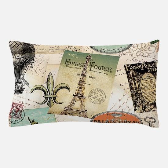 Vintage Travel collage Pillow Case