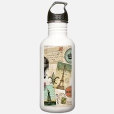 Vintage Travel collage Water Bottle