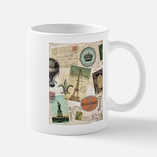 Vintage Travel collage Mugs