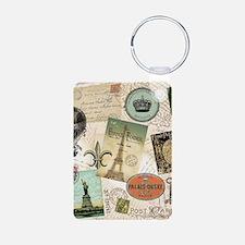 Vintage Travel collage Keychains