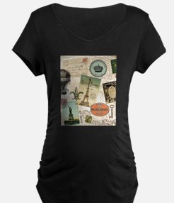 Vintage Travel collage Maternity T-Shirt
