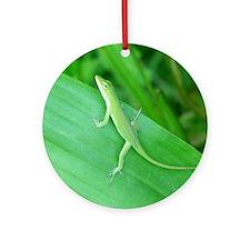 Green Lizard Ornament (Round)