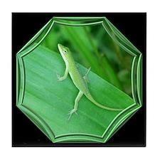 Green Lizard Black Tile Coaster
