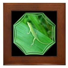 Green Lizard Black Framed Tile