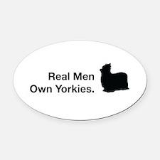 Real Men Own Yorkies Oval Car Magnet