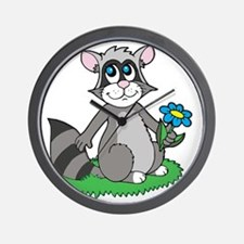 Raccoon with Blue Daisy Flower Wall Clock