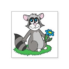 """Raccoon with Blue Daisy Flo Square Sticker 3"""" x 3"""""""