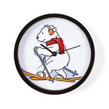 Skiing Polar Bear with Red Scarf & Ear  Wall Clock