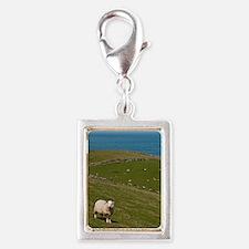 Sheep in field Silver Portrait Charm