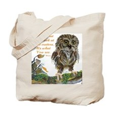 Watercolor of Wise Baby Owl Tote Bag