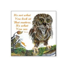 """Watercolor of Wise Baby Owl Square Sticker 3"""" x 3"""""""