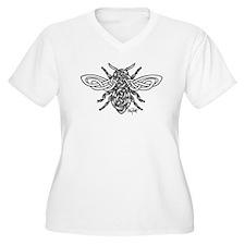 Celtic Knotwork Bee - black lines Plus Size T-Shir
