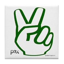 Peace Fingers Tile Coaster