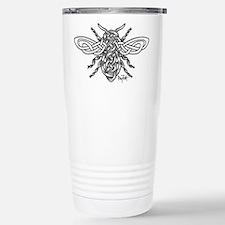 Celtic Knotwork Bee - black lines Travel Mug