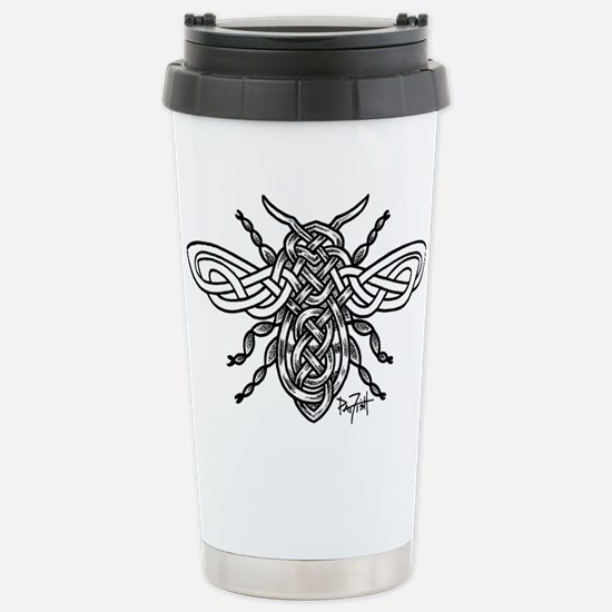 Celtic Knotwork Bee - black lines Travel Mug
