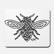 Celtic Knotwork Bee - black lines Mousepad