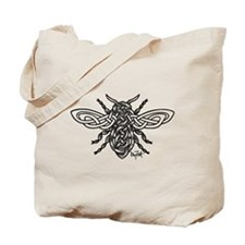 Celtic Knotwork Bee - black lines Tote Bag