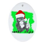 LET'S MONKEY AROUND (XMAS) LOOK Oval Ornament