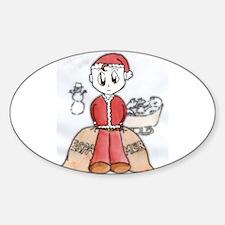 Manga Santa's Little Helper Oval Decal