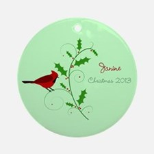 Personalized Cardinal with Holly Christmas Ornamen