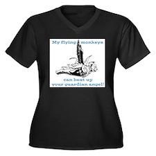 flyingmonkey.png Women's Plus Size V-Neck Dark T-S