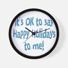 OktosayHappyHolidays.png Wall Clock