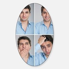 Businessman expressions Sticker (Oval)