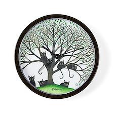 Borders Black Cats in Tree Wall Clock