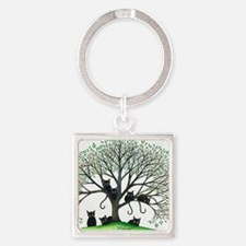 Borders Black Cats in Tree Square Keychain