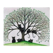 Borders Black Cats in Tree Throw Blanket