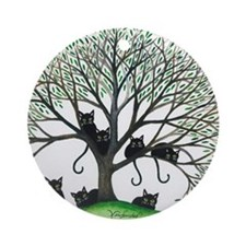 Borders Black Cats in Tree Round Ornament