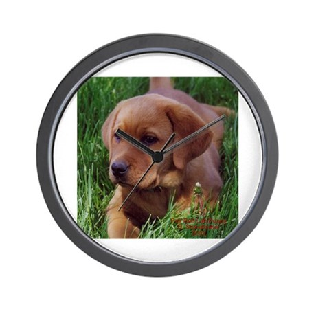 Fox Red Lab Pup Wall Clock