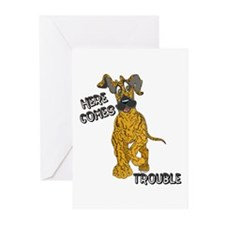 N Brindle Trouble Pup Greeting Cards (Pk of 10