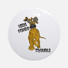 N Brindle Trouble Pup Ornament (Round)