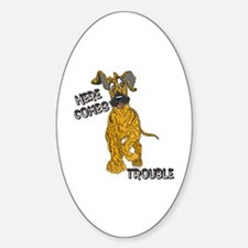 N Brindle Trouble Pup Oval Decal