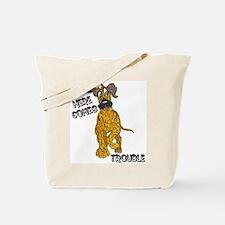N Brindle Trouble Pup Tote Bag