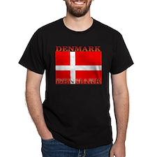 Denmark Danish Flag Black T-Shirt