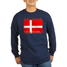 Denmark Danish Flag Long Sleeve Blue T-Shirt