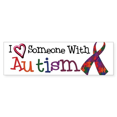 Autism Awareness Love w/Ribbon Bumper Sticker