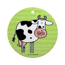 Cow in green Ornament (Round)
