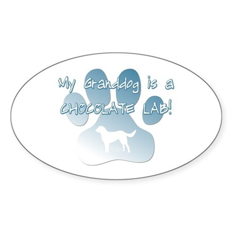 Chocolate Lab Granddog Oval Sticker