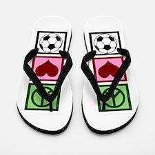 Peace Love Soccer Flip Flops