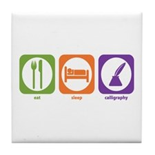 Eat Sleep Calligraphy Tile Coaster