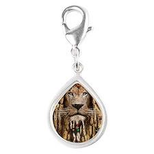 rasta lion Silver Teardrop Charm