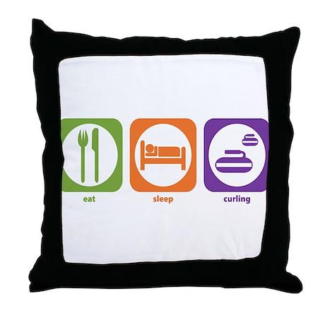 Eat Sleep Curling Throw Pillow
