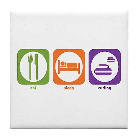 Eat Sleep Curling Tile Coaster