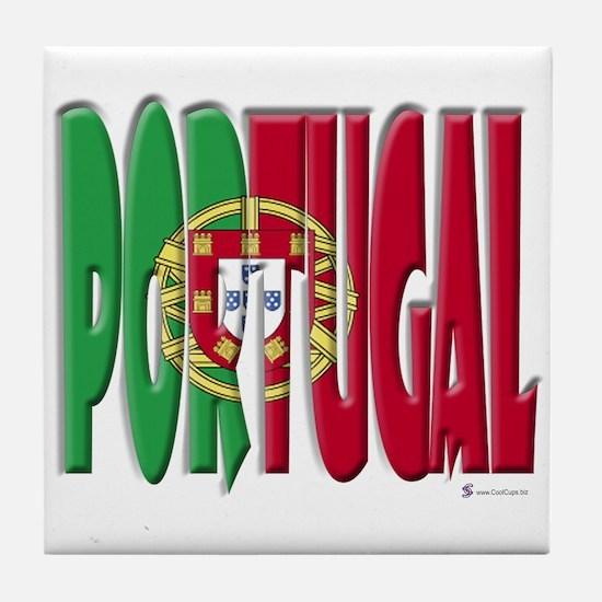 Word Art Flag Portugal Tile Coaster