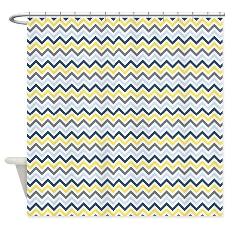 Blue Yellow and White Chevron Shower Curtain by zenchic