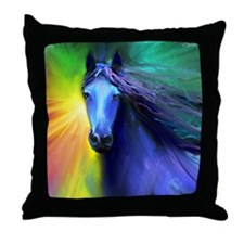 Fresian horse 1 Throw Pillow